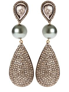 Tahitian Pearls and pave Diamond Encrusted Charms