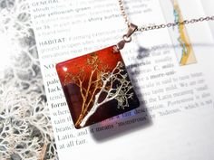 Etsy Jewelry, Jewellery, Jewelry Gifts, Handmade Jewelry, Miniature Trees, Pretty Necklaces, Resin Necklace, Resin Pendant, Square