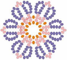 Scheme for flower uicholi Seed Bead Flowers, Beaded Flowers, Beaded Crafts, Beaded Ornaments, Beading Patterns Free, Beading Tutorials, Bead Loom Bracelets, Earring Tutorial, Native American Beading