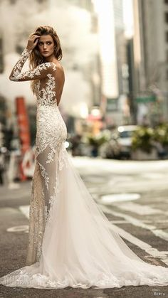 berta fall 2017 bridal long sleeves illusion jewel neckline full embellishment lace elegant sexy fit and flare wedding dress low back chapel train (010) sdv