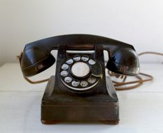 vintage 1940s art deco telephone. Western Electric model 302, F1 handset / the LUCY MAKES BREAD phone
