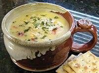 Crockpot chicken and corn chowder. Made this last week and it was great! Added 1/4 cup butter at the end with milk for an added richness!