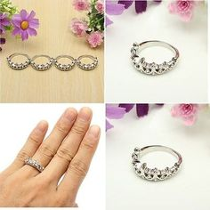 awesome Fashion Princess Women Silver Crystal Rhinestone Crown Ring US Size 5 6 7 8 New - For Sale View more at http://shipperscentral.com/wp/product/fashion-princess-women-silver-crystal-rhinestone-crown-ring-us-size-5-6-7-8-new-for-sale/