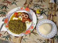 Congolese food. Pondu...makayabu & fufu. Not forgetting pili-pili and ba tiges!