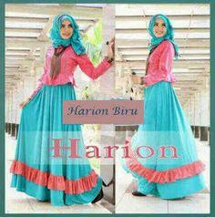 Baju Maxi Harion Blue dan Pashmina