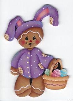 HP GINGERBREAD FRIDGE MAGNET purple flower | HP GINGERBREAD Purple Bunny Suit…