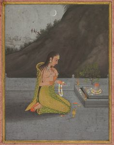 A Night Scene of Shiva Puja (recto); Calligraphy (verso), c. 1760-1770  attributed to Muhammad Reza-i Hindi (Indian, active mid-1700s), Ahmad al-Husaini, opaque watercolor with gold on paper, wide borders of pink paper (recto); gold on blue paper, four lines of thuluth calligraphy (verso), Page: 28.2 x 24.1 cm (11 1/8 x 9 ½ inches); Painting: 14.5 x 11.1 cm (5 11/16 x 4 3/8 inches). Gift in honor of Madeline Neves Clapp; Gift of Mrs. Henry White