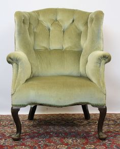 Edwardian buttoned tub wing chair