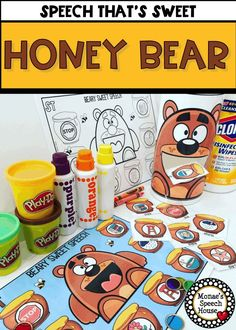 YOUR SPEECH IS SWEET! HONEY BEAR SPEECH! Use this resource to work on speech sounds during speech therapy. Color and NO PREP black and white worksheets included. FEEDING MOUTH BEAR ACTIVITY TOO! Easy and fun. Speech Pathologists will love the simplicity of this resource. For SLPs, special education, autism, kindergarten, 1st, 2nd graders. {preK, Kinder, speech therapy, gen ed}