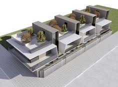 projetos modernos: sobrados geminados com terraço