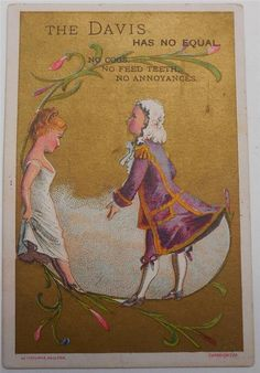 Antique Victorian Trade Card The Davis Vertical Feed Sewing Machine Woman Man 2