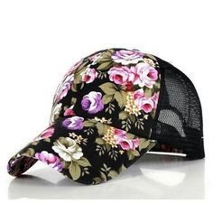 1f57fcc2831 Eforstore Snapback Baseball Cap Floral Perforated Ball Caps Golf Hats  Summer Mesh Hat for Women Teens Girls Black