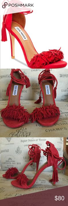 Red Sassey Fringe Sandals.Perfect condition I wear it once ! They are in Perfect condition! I have another pair on yellow( size 5.5 and the red one is size 6 that s why I m selling them, because they are a little big for me) they are so comfortable for high heels. I love them ❤️ Steve Madden Shoes Heels