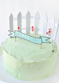 White Picket Fence Cake Topper
