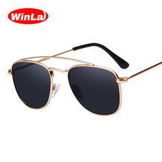 Winla Polarized Sunglasses Unisex Metal Double-Girder Design Reflective Mirror Summer Vintage Style Unisex UV400 Oculos WL1017