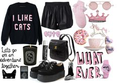 """""""cat lover"""" by grunge-kittens ❤ liked on Polyvore"""