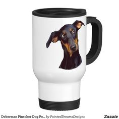 Doberman Pinscher Dog Portrait Print Travel Mug