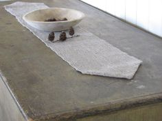 #Rustic Table Runner Hand Woven Natural Gray Linen by #aclhandweaver, 135.00 USD