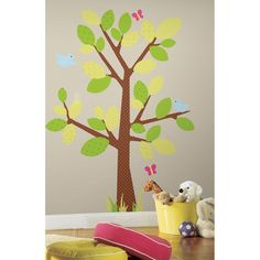 #oBedding - #York Wallcoverings Polka Dot Tree Wall Accent Set - Butterfly Light Green Decal Stickers - AdoreWe.com