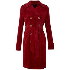 Brady Suede Coat ($10) ❤ liked on Polyvore featuring outerwear, coats, red coat, suede coat, suede leather coat and red suede coat