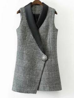 Desirca Lady Plaid Vest Floral Single Button Formal Sleeveless Blazer Autumn Casual Slim Womens Vests New Suit Fashion, Fashion Dresses, Chaleco Casual, Suits For Women, Clothes For Women, Sleeveless Blazer, Classy Outfits, Blouse Designs, Coat