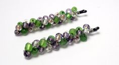 Lavender and Green Beaded Bobby Pins. Lilac and Moss by JMEBeads, $7.00