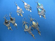 "SOUTH AMERICA PERU ""ALPACA SILVER""  4 SETS OF EARRINGS Ethnic Jewelry A"
