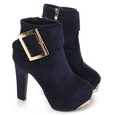 Stylish Women s Short Boots With Buckle and Metallic Design