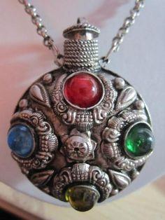 Large Perfume Bottle Jeweled Pendant Necklace Decorated Vintage Rollo Chain   eBay