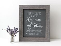 Dancing Shoes Wedding Flip Flop Sign, Rustic Kraft or Chalkboard Style  [B19C]