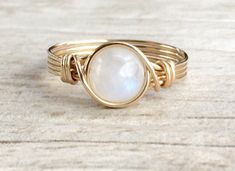 Moonstone Wire Wrapped Ring, Moonstone Gemstone Ring, 14k Gold Filled Ring, Any Size