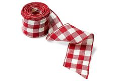 "4"" Faux Burlap Wired Ribbon, Red/Cream 
