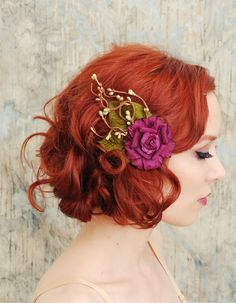 Romantic Vintage Inspired Wedding Hair With Lovely Purple Flower.