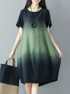 General Tunic Green White Day Dresses Casual Round Neckline Shift Dress Spring Summer Cotton Color Block M Short Sleeve Knee-Length L XL XXL Dress Vestido Tie Dye, Tie Dye Dress, Casual Party Dresses, Summer Dresses, Dress Casual, Casual Shoes, Floryday Vestidos, Linen Dresses, Floryday Dresses