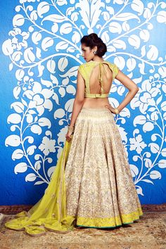 Ivory & sunny yellow lengha by Anita Dongre India Fashion, Ethnic Fashion, Asian Fashion, Indian Attire, Indian Ethnic Wear, Indian Style, Indian Dresses, Indian Outfits, Indian Clothes