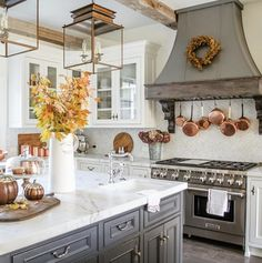 """When you find REAL fall branches at the flower mart you say """"yes please"""" and change your whole decor plan.at least that's what happened… Home Decor Kitchen, Kitchen Design, Kitchen Ideas, Kitchen Inspiration, Winter Centerpieces, Copper Kitchen, Rustic Kitchen, White Cabinets, White Wood"""