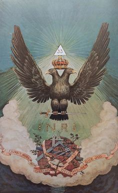 Double-Headed Eagle (The end product of the Magnum Opus). See also: Rebis in Alchemy, the divine Hermaphroditus (child of Hermes (Intellect) and Aphrodite (Feeling)), Ardanarishvara (androgynous form of Shiva merged with Parvati). Occult Symbols, Masonic Symbols, Occult Art, Arte Judaica, Masonic Art, Double Headed Eagle, Esoteric Art, Arte Obscura, Magnum Opus