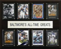 """NFL Baltimore Ravens All-Time Greats Plaque by C&I Collectables. $29.99. Perfect for displaying in an office, rec room or bedroom. Eight Licensed, Original Trading Cards. 12"""" X 15"""" cherry wood plaque. Baltimore Ravens All-Time Great Players. Full lens cover to protect cards. NFL Baltimore Ravens All-Time Greats Plaque"""