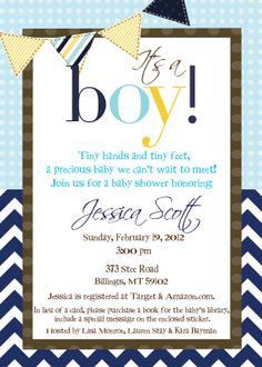 Navy and Yellow It's a Boy Baby Shower Invite by myaclairedesign, $12.00