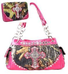 Western Pink Camouflage Cross Rhinestone Handbag W Matching Wallet. Beautiful matching purse and wallet set. Purse Size: 13.5(L) x 8.5(H) x 5(W). Wallet Size: 7.5(L) X 4.5(H) X 1(W). Feel leather. Beautiful Camouflage Print with Rhinestone Accents.