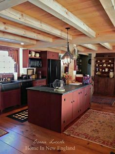 Early New England Homes.  Like the cabinetry and color, floors, beams, counters but NOT that refrigerator or dishwasher showing -  hide them behind cabinets.