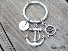 Boating Gift Keychain Ship wheel Keychain Custom by StampsINK