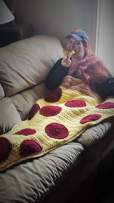 Pizza by the slice blanket: crochet pattern for purchase