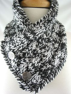 Double Cable Silver Button Neck Warmer  by JazzitUpwithDesigns  @Justine Sobczyk Maybe if we learn to crochet, we can make cool scarves like this!