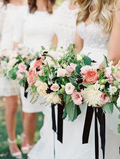 chic all white bridesmaid dresses; photo: Carmen Santorelli Photography