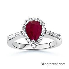 Pear #Ruby and #Diamond Border #Ring in 14k White #Gold, #Ruby #Ring  #Jewelry http://blingterest.com/rings/border-rings/pear-ruby-and-diamond-border-ring-in-14k-white-gold-ruby-ring-sr0350rg-jewelry/