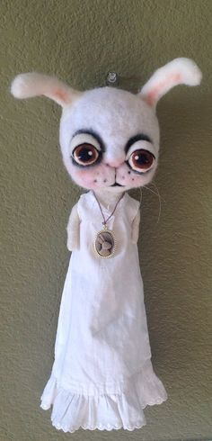 White rabbit wall doll ooak art doll by papermoongallery on Etsy