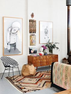 vintage and folk living room : The Northcote warehouse home of artist Carla Fletcher and her husband, musician Brett Langsford. Production – Lucy Feagins / The Design Files. Living Room Inspiration, Interior Design Inspiration, Home Decor Inspiration, Decor Ideas, Decorating Ideas, Room Ideas, Interior Decorating, Daily Inspiration, Interior Designing