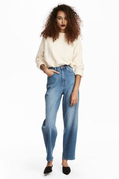 Relaxed Mom Jeans - Denimblauw - DAMES   H&M BE 1