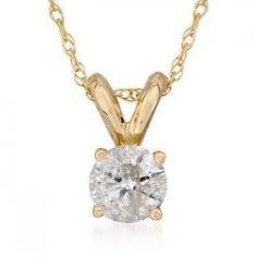 14k Yellow Gold 1/4ct Diamond Solitaire Necklace Yellow or White Gold